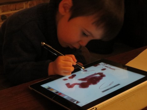 """Mr 2 using """"special pen on iPad"""""""